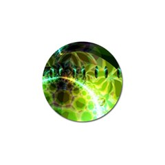 Dawn Of Time, Abstract Lime & Gold Emerge Golf Ball Marker 4 Pack