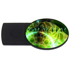 Dawn Of Time, Abstract Lime & Gold Emerge 2gb Usb Flash Drive (oval)