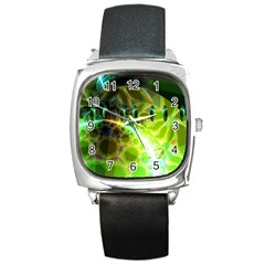 Dawn Of Time, Abstract Lime & Gold Emerge Square Leather Watch
