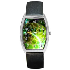Dawn Of Time, Abstract Lime & Gold Emerge Tonneau Leather Watch