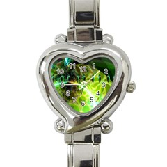 Dawn Of Time, Abstract Lime & Gold Emerge Heart Italian Charm Watch