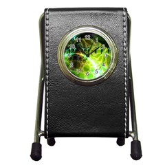 Dawn Of Time, Abstract Lime & Gold Emerge Stationery Holder Clock