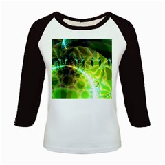 Dawn Of Time, Abstract Lime & Gold Emerge Kids Long Cap Sleeve T Shirt