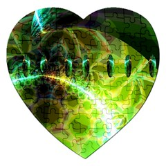 Dawn Of Time, Abstract Lime & Gold Emerge Jigsaw Puzzle (Heart)