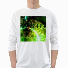 Dawn Of Time, Abstract Lime & Gold Emerge Men s Long Sleeve T Shirt (white)