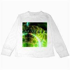 Dawn Of Time, Abstract Lime & Gold Emerge Kids Long Sleeve T-Shirt