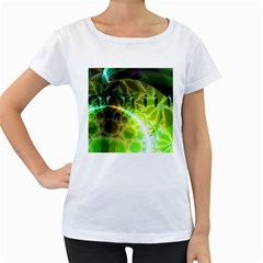 Dawn Of Time, Abstract Lime & Gold Emerge Women s Loose-Fit T-Shirt (White)