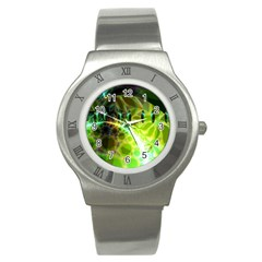 Dawn Of Time, Abstract Lime & Gold Emerge Stainless Steel Watch (Slim)