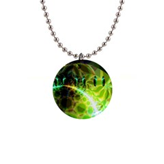 Dawn Of Time, Abstract Lime & Gold Emerge Button Necklace