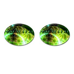 Dawn Of Time, Abstract Lime & Gold Emerge Cufflinks (Oval)