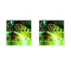 Dawn Of Time, Abstract Lime & Gold Emerge Cufflinks (Square)