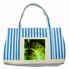 Dawn Of Time, Abstract Lime & Gold Emerge Blue Striped Tote Bag