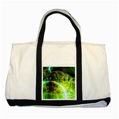Dawn Of Time, Abstract Lime & Gold Emerge Two Toned Tote Bag