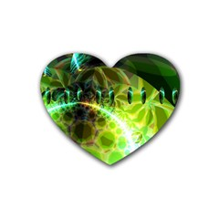 Dawn Of Time, Abstract Lime & Gold Emerge Drink Coasters (Heart)