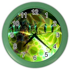 Dawn Of Time, Abstract Lime & Gold Emerge Wall Clock (Color)