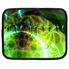 Dawn Of Time, Abstract Lime & Gold Emerge Netbook Sleeve (large)