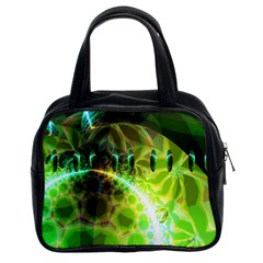 Dawn Of Time, Abstract Lime & Gold Emerge Classic Handbag (two Sides)