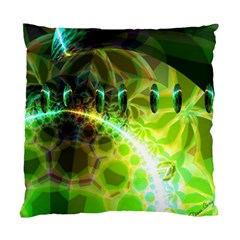 Dawn Of Time, Abstract Lime & Gold Emerge Cushion Case (Two Sided)
