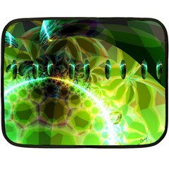 Dawn Of Time, Abstract Lime & Gold Emerge Mini Fleece Blanket (two Sided)