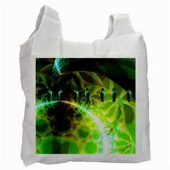 Dawn Of Time, Abstract Lime & Gold Emerge White Reusable Bag (Two Sides)