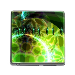 Dawn Of Time, Abstract Lime & Gold Emerge Memory Card Reader With Storage (square)