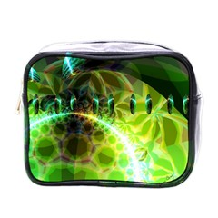 Dawn Of Time, Abstract Lime & Gold Emerge Mini Travel Toiletry Bag (one Side)