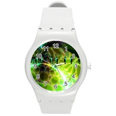 Dawn Of Time, Abstract Lime & Gold Emerge Plastic Sport Watch (medium)