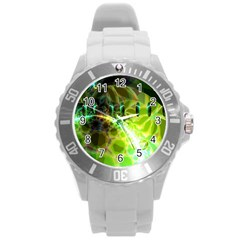 Dawn Of Time, Abstract Lime & Gold Emerge Plastic Sport Watch (Large)