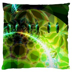 Dawn Of Time, Abstract Lime & Gold Emerge Large Cushion Case (Two Sided)
