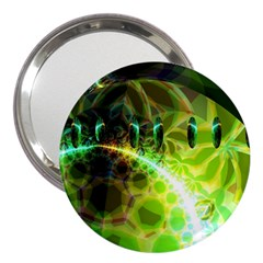 Dawn Of Time, Abstract Lime & Gold Emerge 3  Handbag Mirror