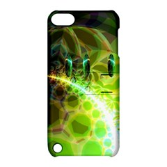 Dawn Of Time, Abstract Lime & Gold Emerge Apple Ipod Touch 5 Hardshell Case With Stand