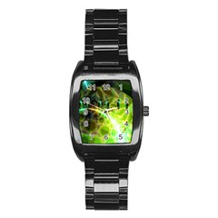 Dawn Of Time, Abstract Lime & Gold Emerge Stainless Steel Barrel Watch