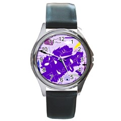 Life With Fibro2 Round Leather Watch (Silver Rim)