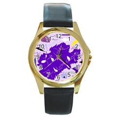 Life With Fibro2 Round Leather Watch (gold Rim)