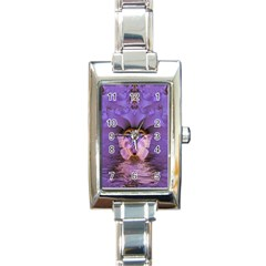 Artsy Purple Awareness Butterfly Rectangular Italian Charm Watch