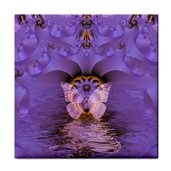 Artsy Purple Awareness Butterfly Ceramic Tile