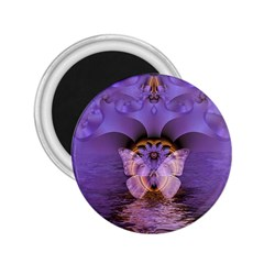 Artsy Purple Awareness Butterfly 2.25  Button Magnet