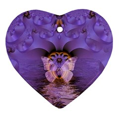 Artsy Purple Awareness Butterfly Heart Ornament