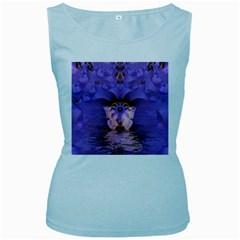 Artsy Purple Awareness Butterfly Women s Tank Top (Baby Blue)