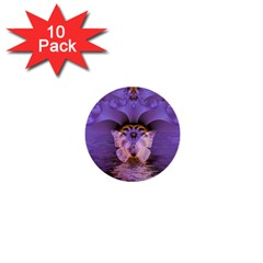 Artsy Purple Awareness Butterfly 1  Mini Button (10 pack)