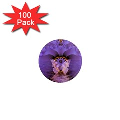 Artsy Purple Awareness Butterfly 1  Mini Button Magnet (100 pack)