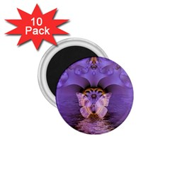 Artsy Purple Awareness Butterfly 1.75  Button Magnet (10 pack)