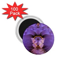 Artsy Purple Awareness Butterfly 1.75  Button Magnet (100 pack)