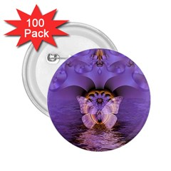Artsy Purple Awareness Butterfly 2.25  Button (100 pack)