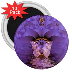 Artsy Purple Awareness Butterfly 3  Button Magnet (10 pack)