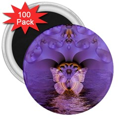 Artsy Purple Awareness Butterfly 3  Button Magnet (100 pack)