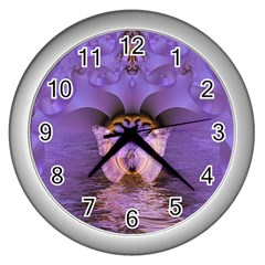 Artsy Purple Awareness Butterfly Wall Clock (Silver)