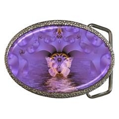 Artsy Purple Awareness Butterfly Belt Buckle (Oval)