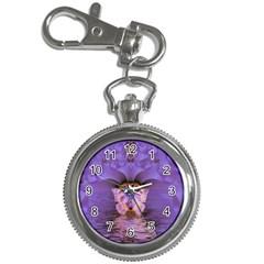 Artsy Purple Awareness Butterfly Key Chain Watch