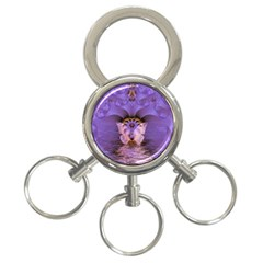 Artsy Purple Awareness Butterfly 3 Ring Key Chain